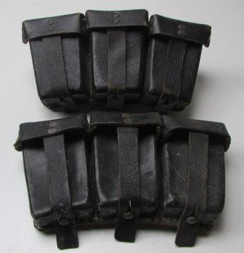 WH (HEER) Pair Of Black K98 Leather Ammo Pouches - Nice Used Condition